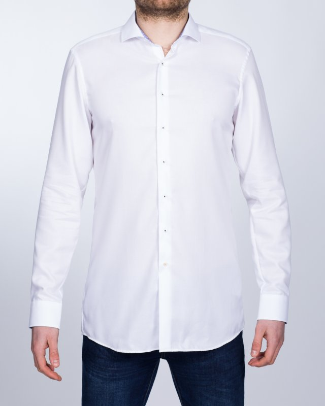 Eterna Slim Fit Tall Shirt (white/blue collar)