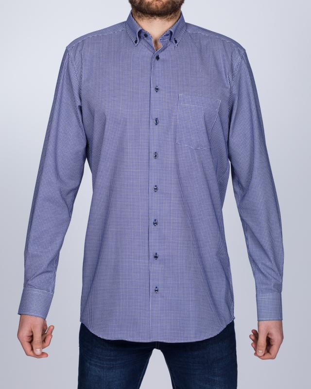 Eterna Modern Fit Tall Shirt (navy gingham)
