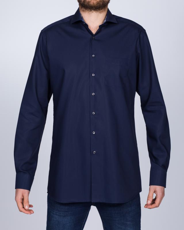 Eterna Modern Fit Tall Shirt (navy/blue collar)