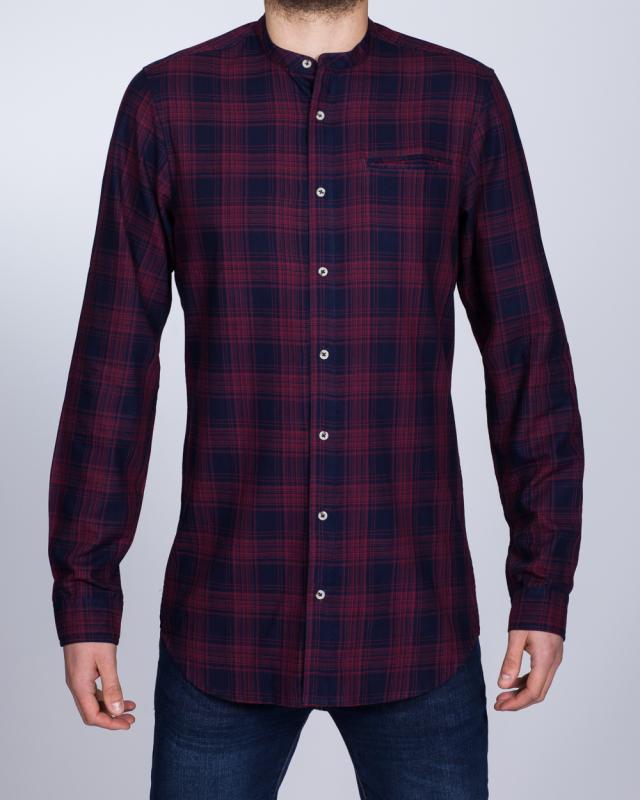 2t Slim Fit Long Sleeve Tall Grandad Shirt (navy/red)