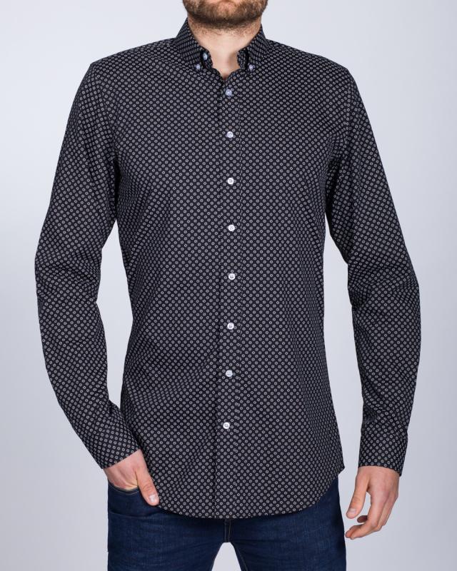 2t Slim Fit Long Sleeve Tall Shirt (floral black)