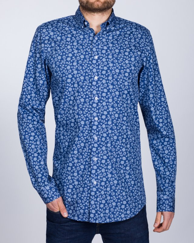 2t Slim Fit Long Sleeve Tall Shirt (floral blue)