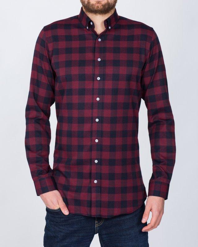 2t Slim Fit Long Sleeve Tall Shirt (maroon check)