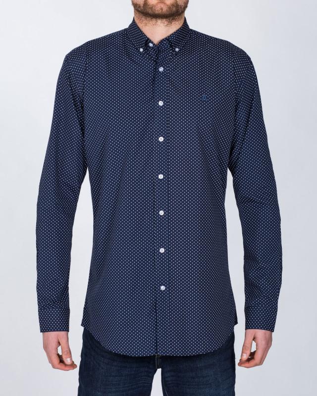2t Regular Fit Long Sleeve Tall Shirt (navy dot)