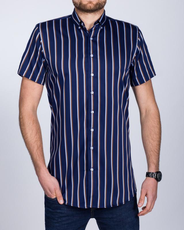 2t Slim Fit Short Sleeve Tall Shirt (navy/brown)