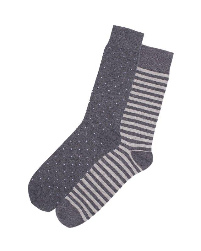 2t Patterned Socks 2 Pairs (mixed grey)