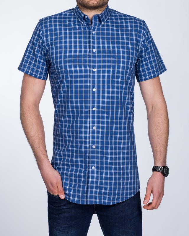 2t Slim Fit Short Sleeve Tall Checked Shirt (navy check)