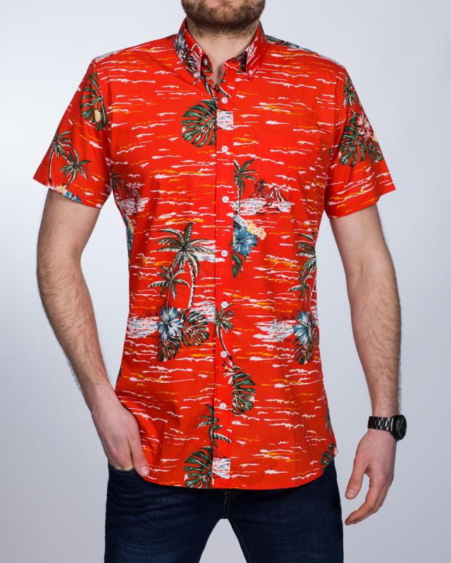 2t Short Sleeve Tall Shirt (hawaiian red)