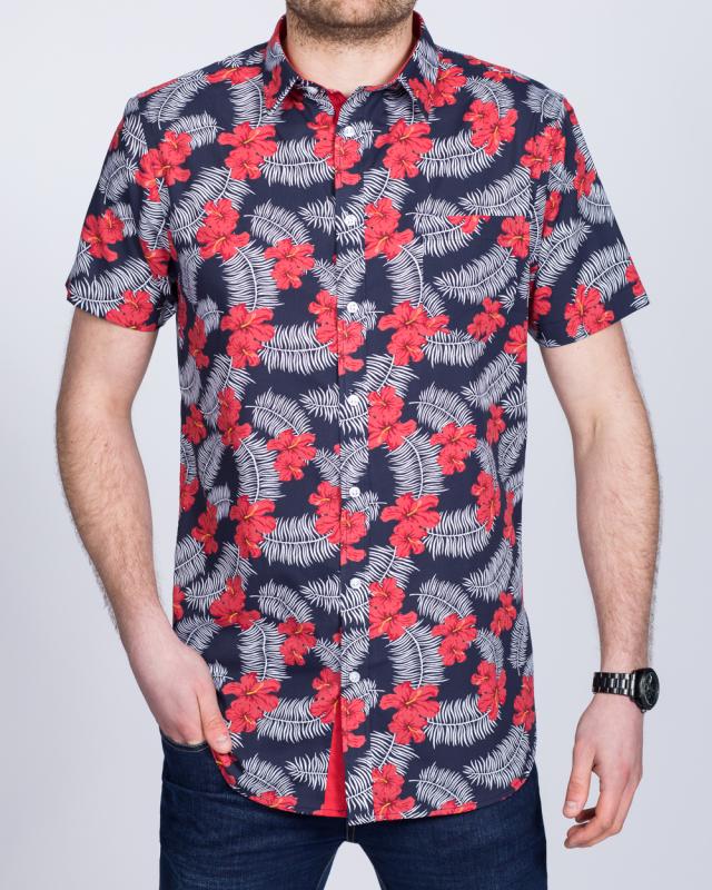 2t Short Sleeve Tall Shirt (navy hawaiian)