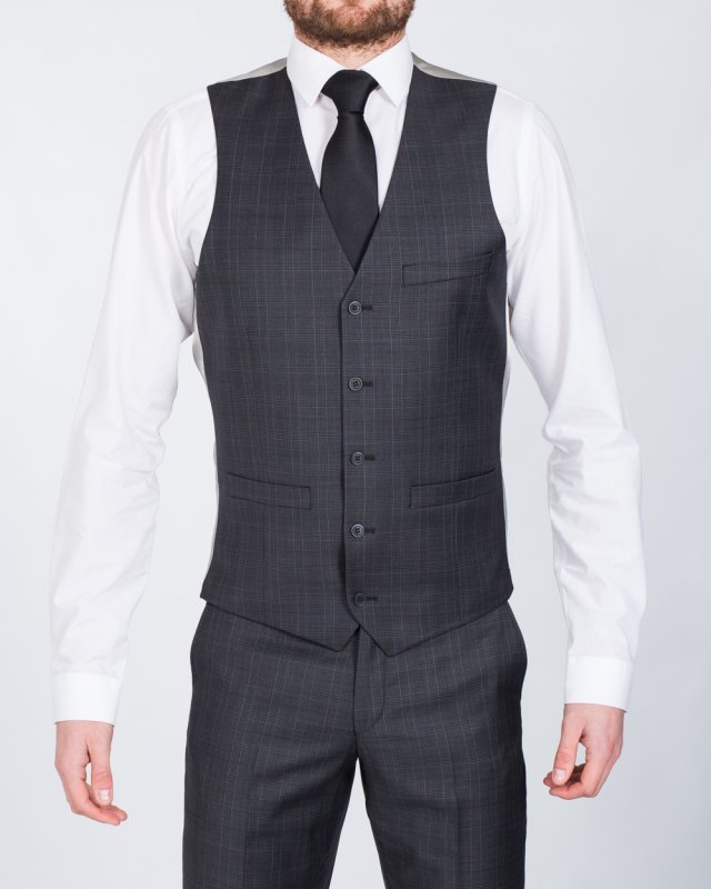 Hugo James Ronson Slim Fit Tall Waistcoat (charcoal)