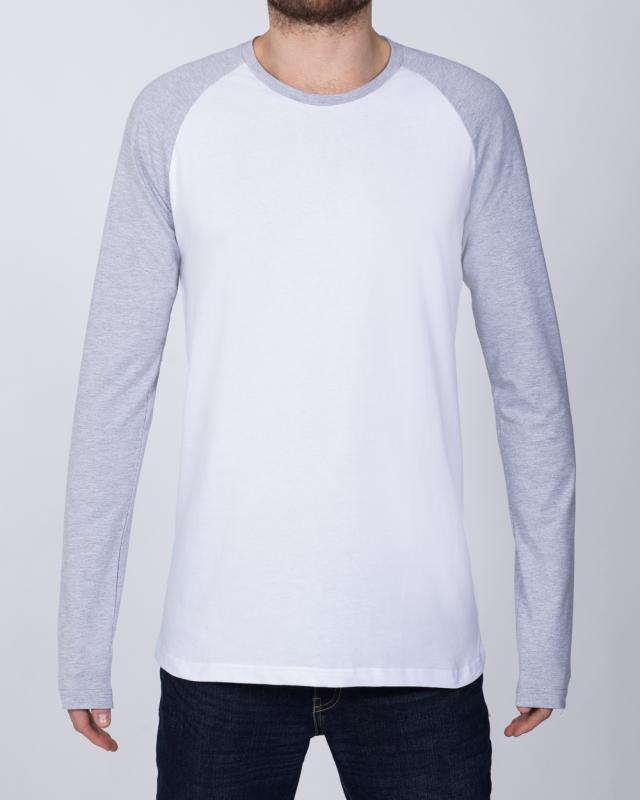 2t Raglan Long Sleeve Tall T-Shirt (white/grey)