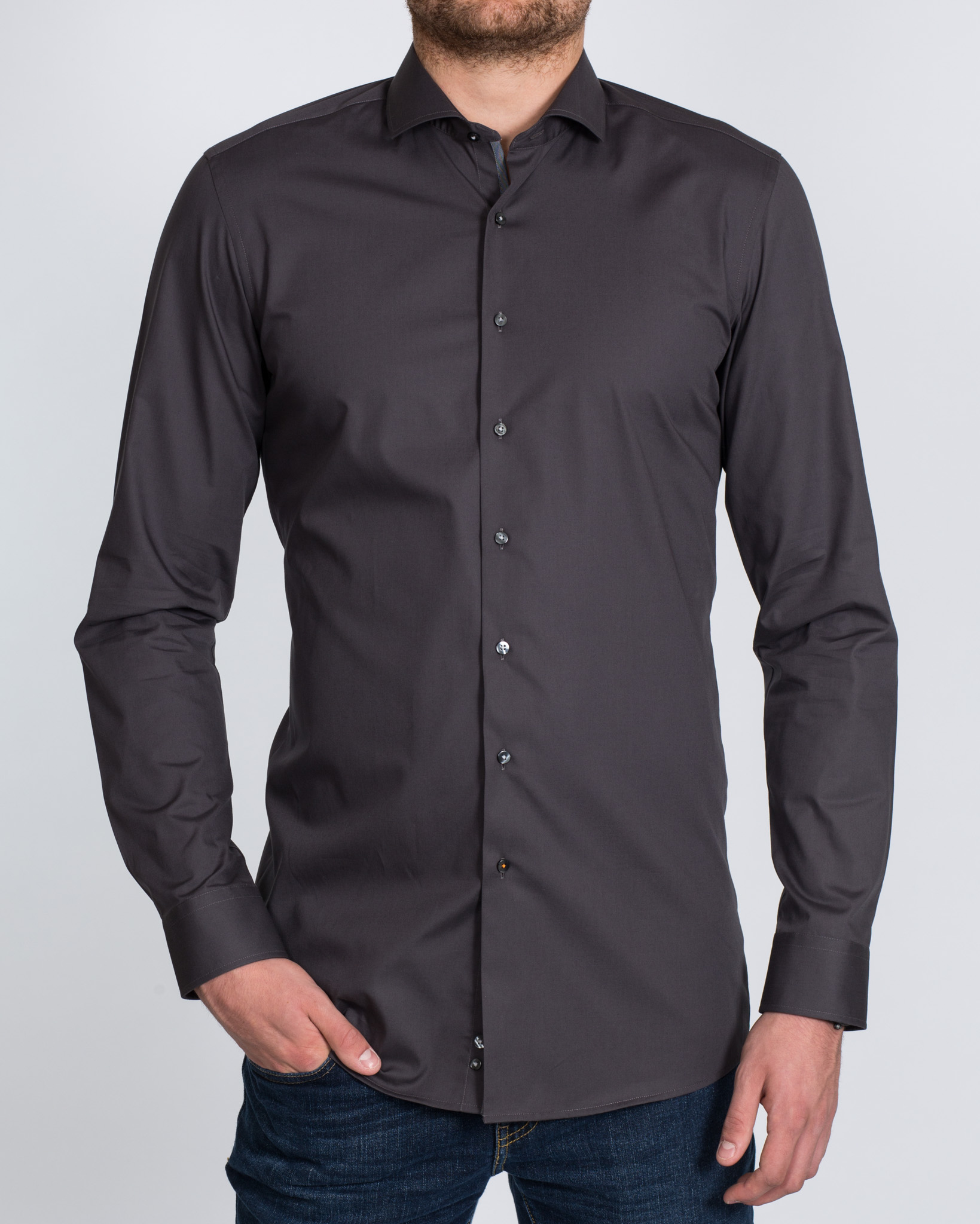 Eterna Slim Fit Tall Shirt (dark grey)