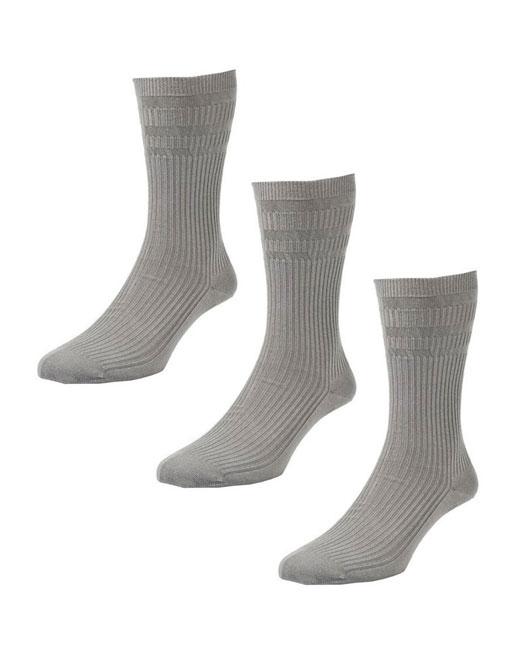 HJ Hall Softop Cotton Socks 3 Pack (grey)