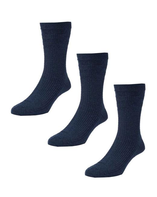 HJ Hall Softop Cotton Socks 3 Pack (navy)