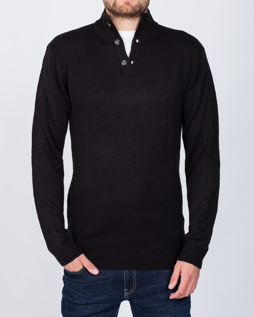 Peter Gribby 3 Button Jumper (black)