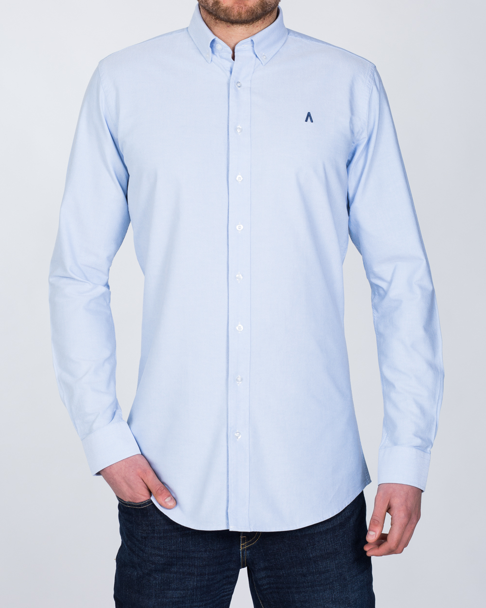2t Oxford Slim Fit Long Sleeve Tall Shirt (sky)