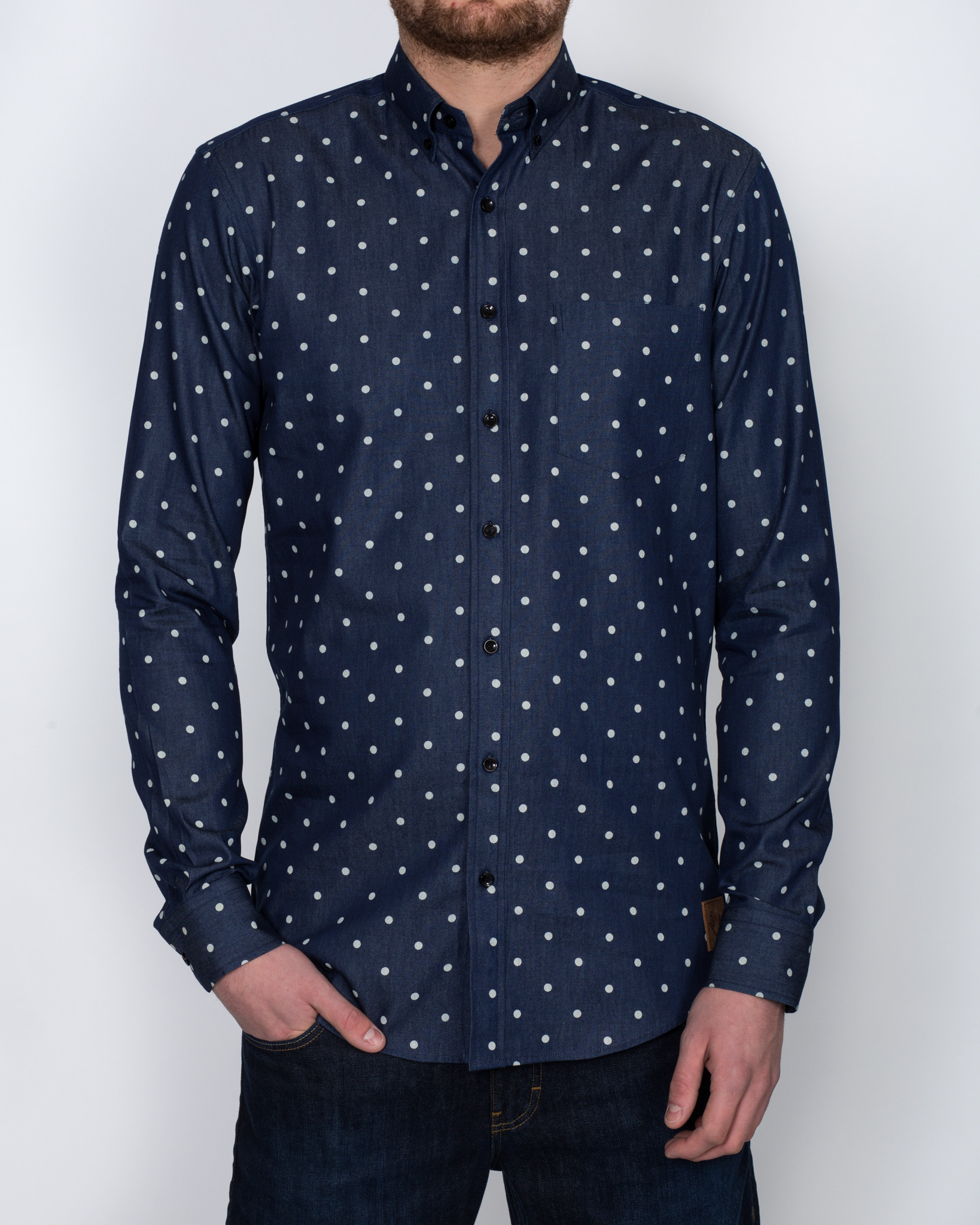 So Long Sven Tall Oxford Shirt (denim and dots)