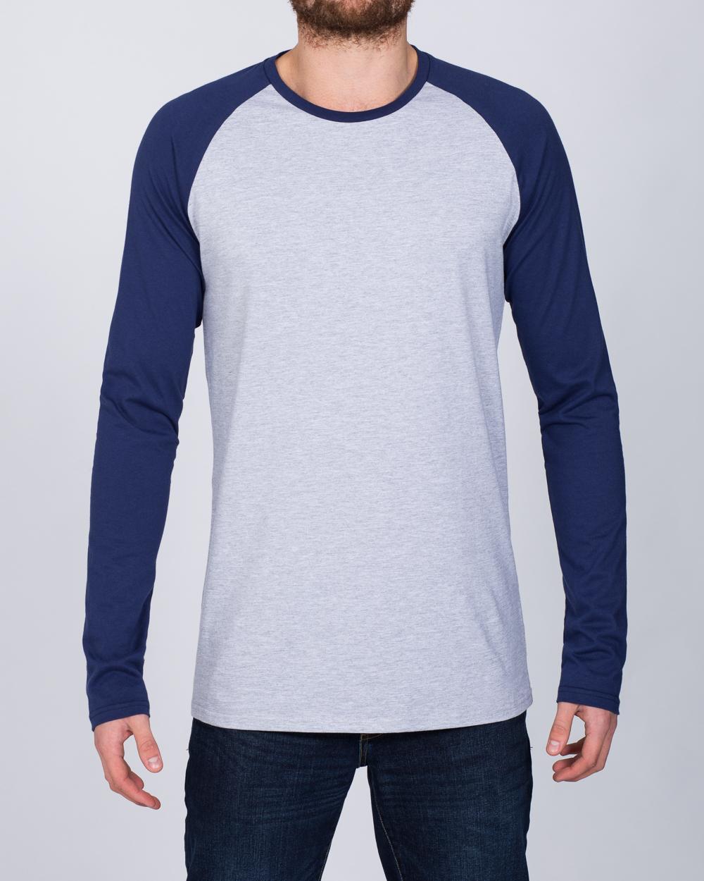 2t Raglan Long Sleeve Tall T-Shirt (grey/navy)
