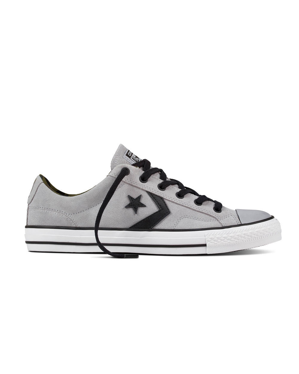 Converse Star Player Ox Leather (wolf grey/white) | 2tall.com
