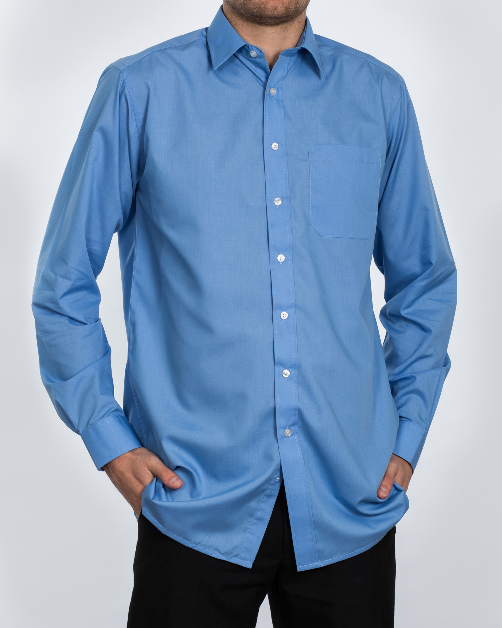 Double Two Long Sleeve Tall Shirt (blue)