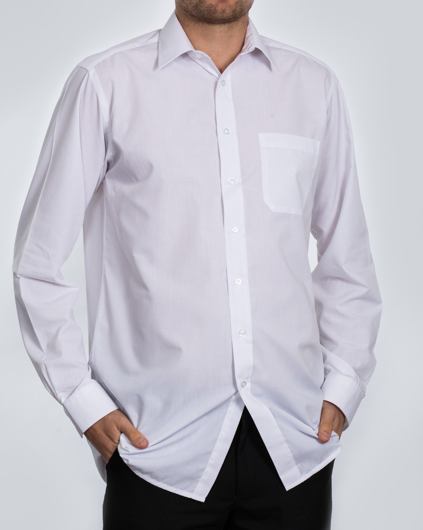 Double Two Long Sleeve Regular Fit Tall Shirt (white)