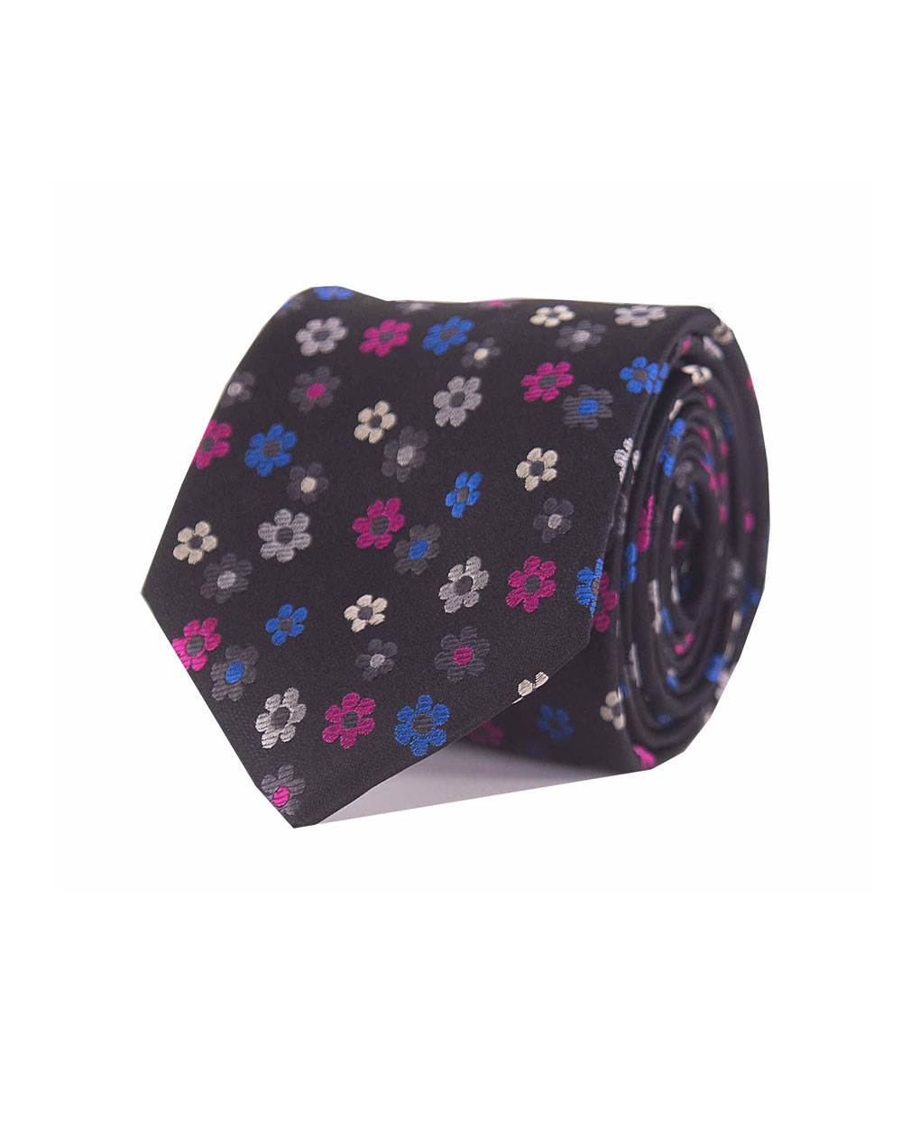 Double Two Silk Extra Long Floral Tie (black)