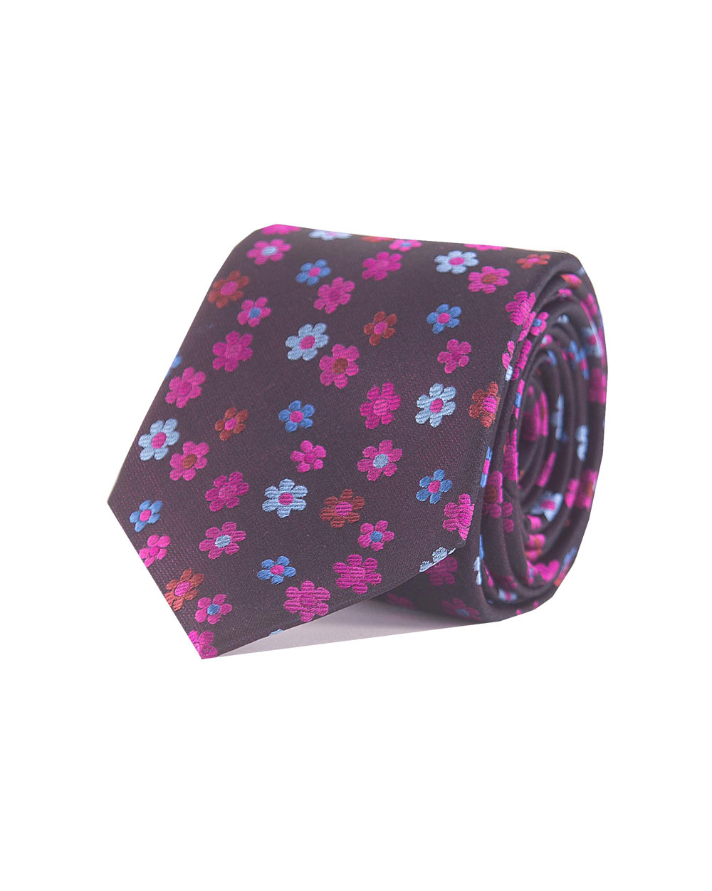 Double Two Silk Extra Long Floral Tie (navy/pink)