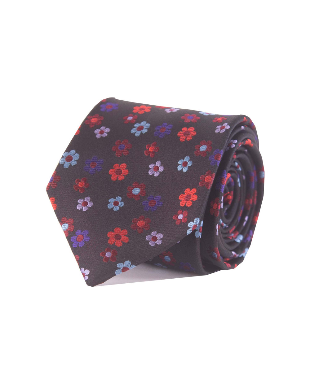 Double Two Silk Extra Long Floral Tie (black/red)