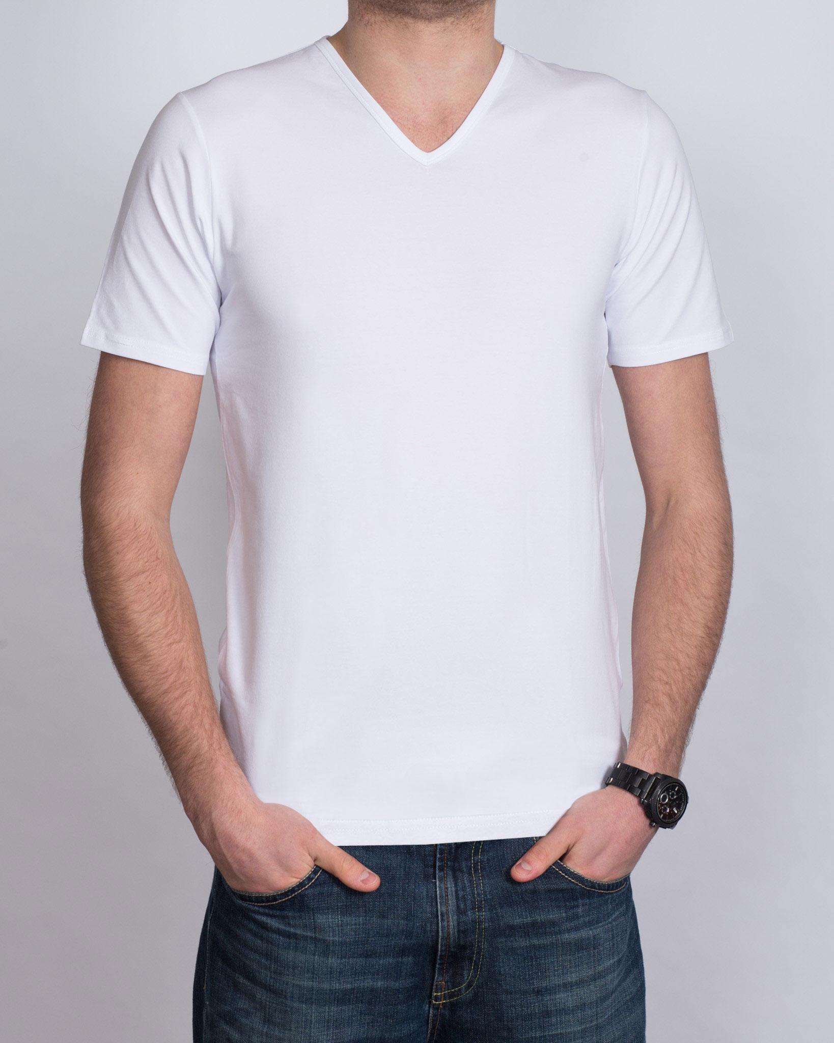 Girav Fitted Tall V-Neck (white) Twin Pack