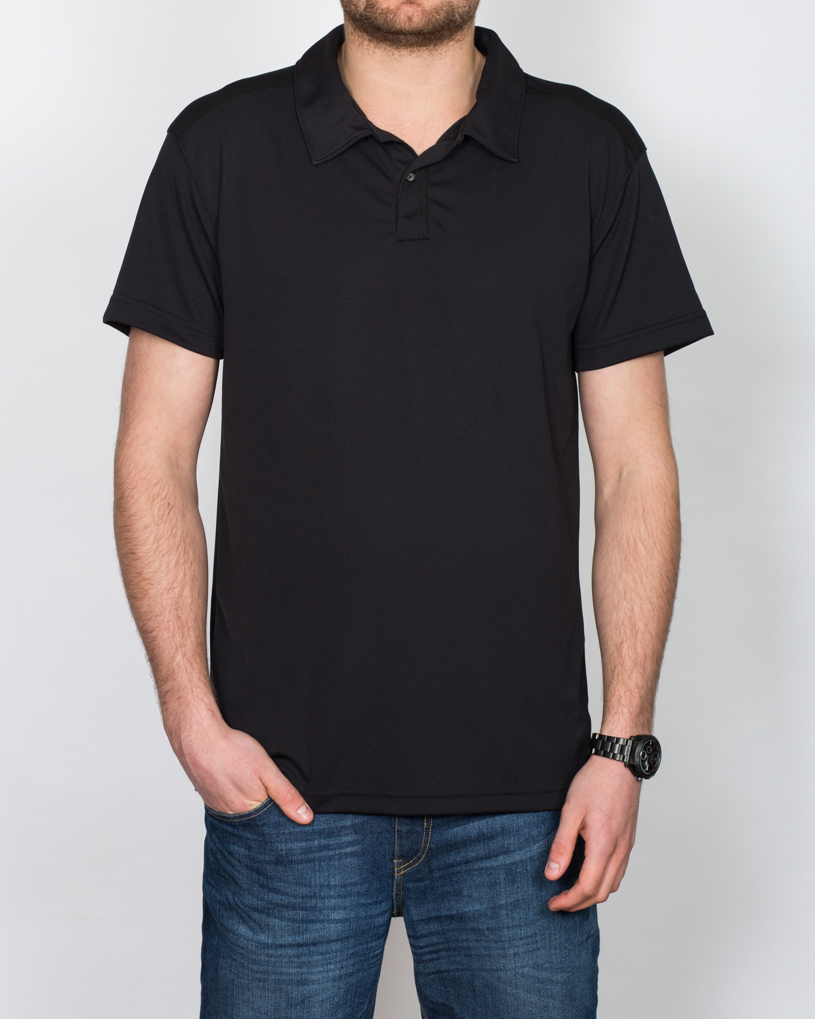 North 56 Cool Effect Tall Polo Short (black)