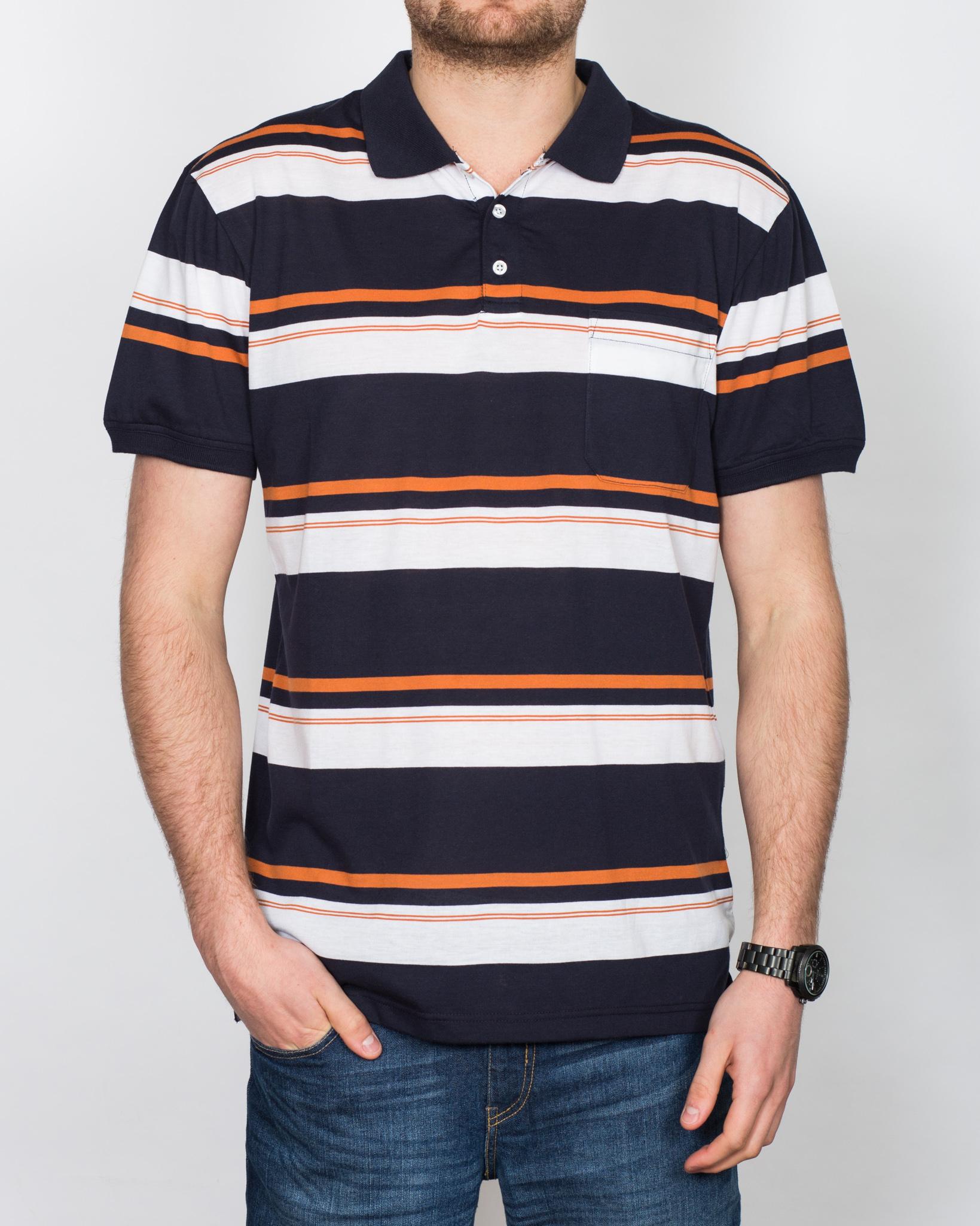 North 56 Striped Tall Polo Shirt (navy)