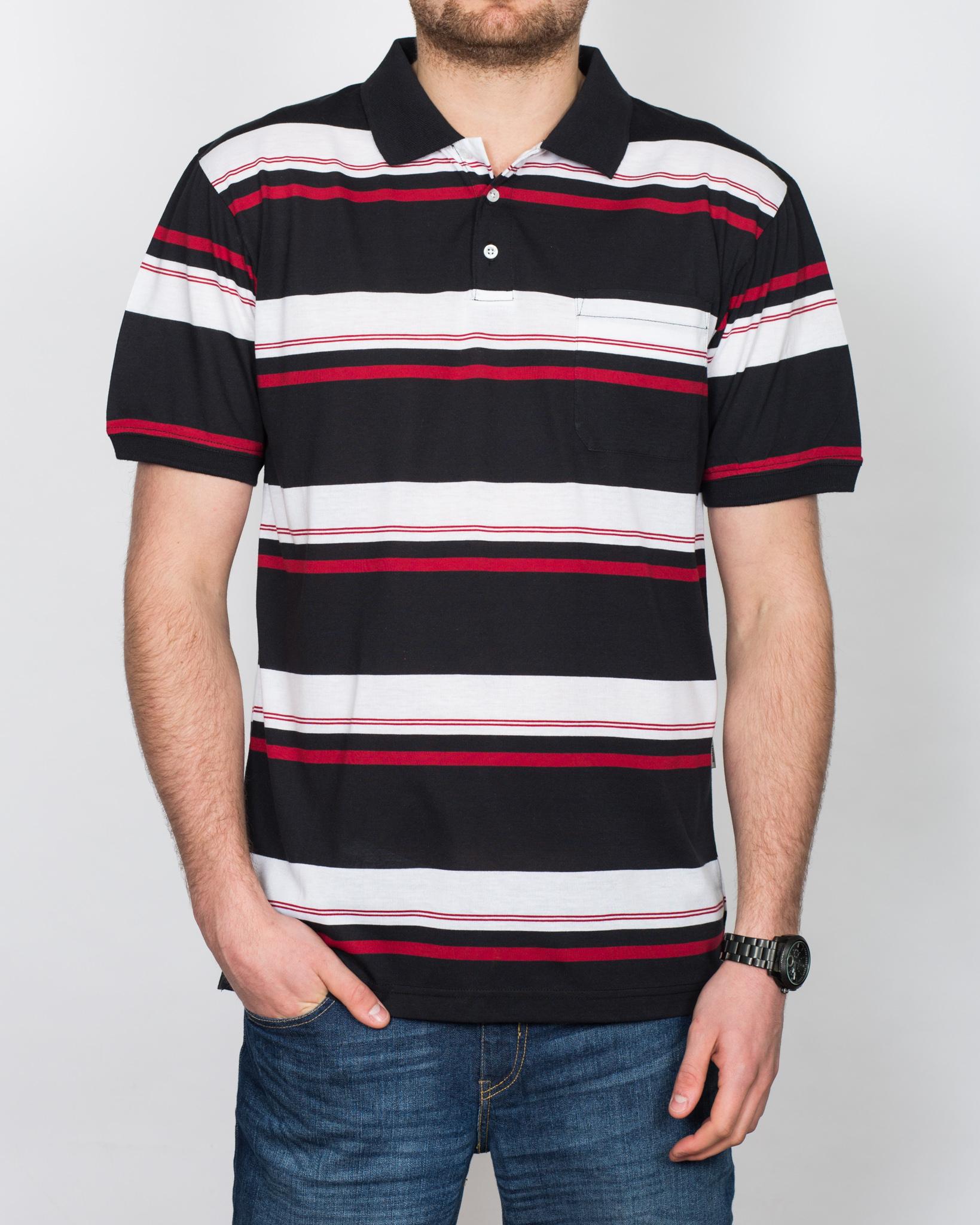 North 56 Striped Tall Polo Shirt (black)