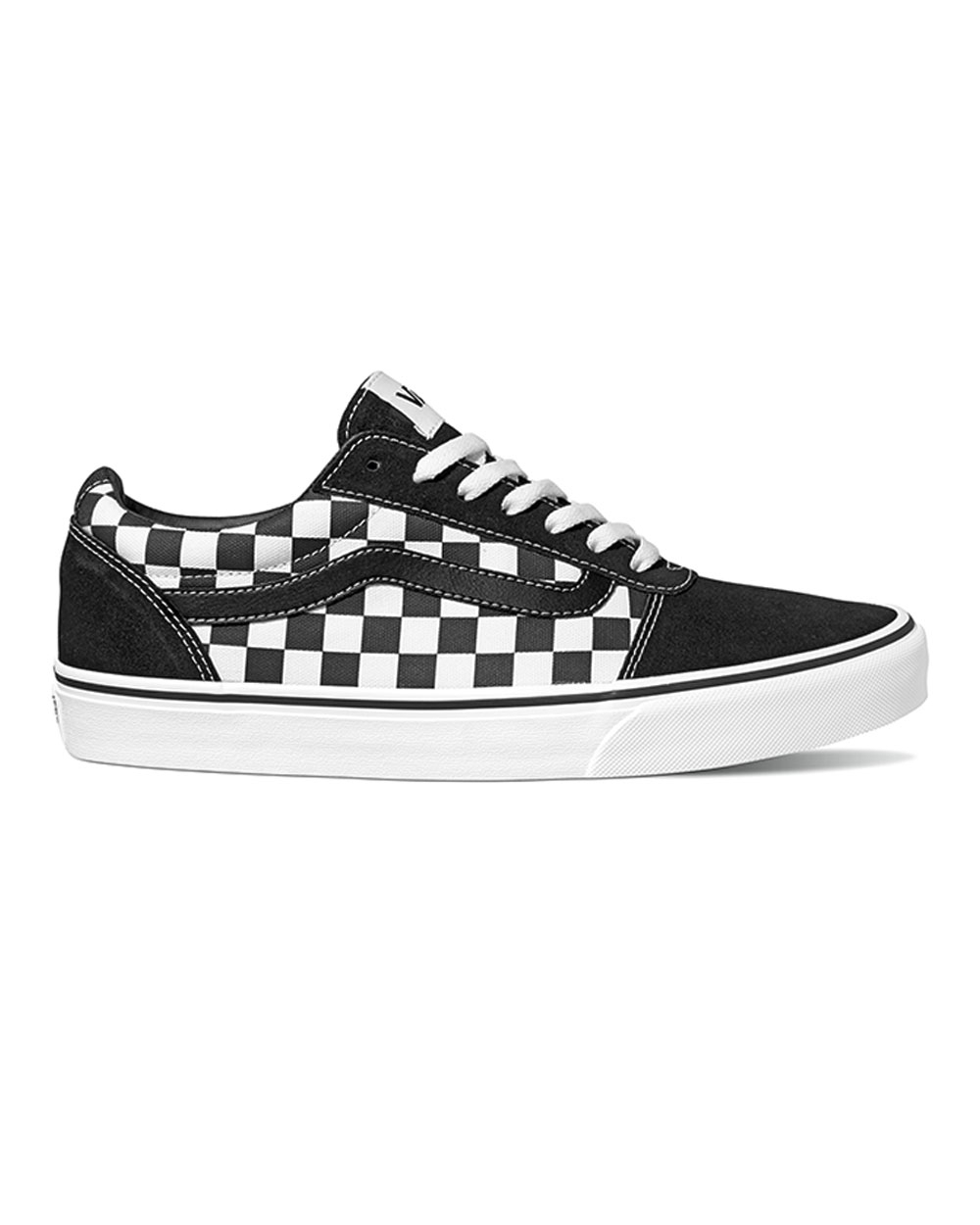 checkerboard black and white vans