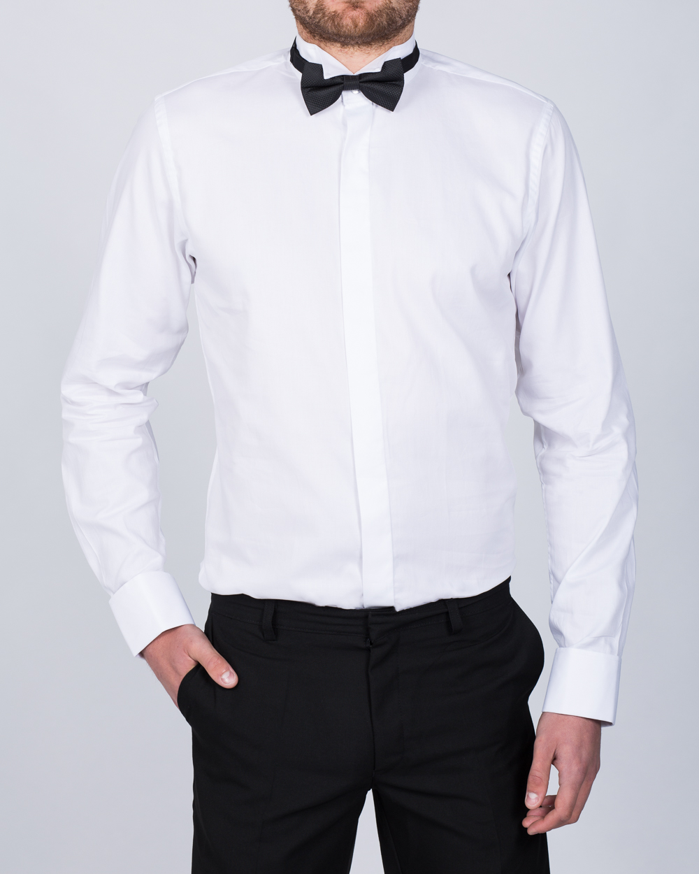 2t Slim Fit Wing Collar Tall Dress Shirt Bow Tie White Extra