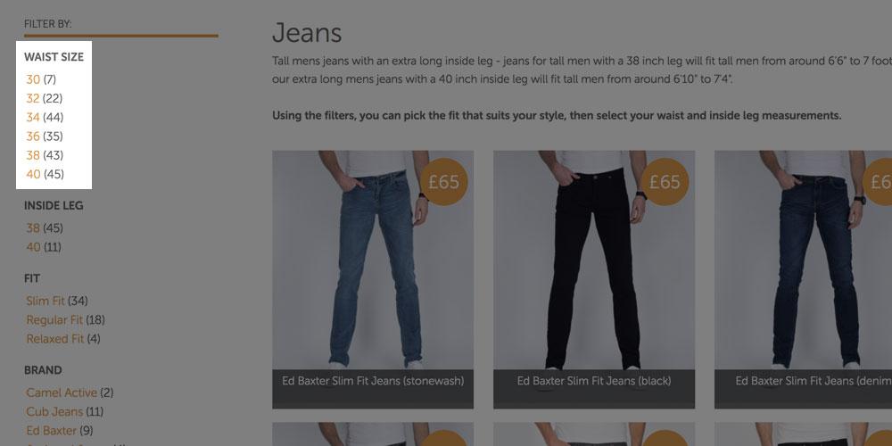 2tall.com Size Filters