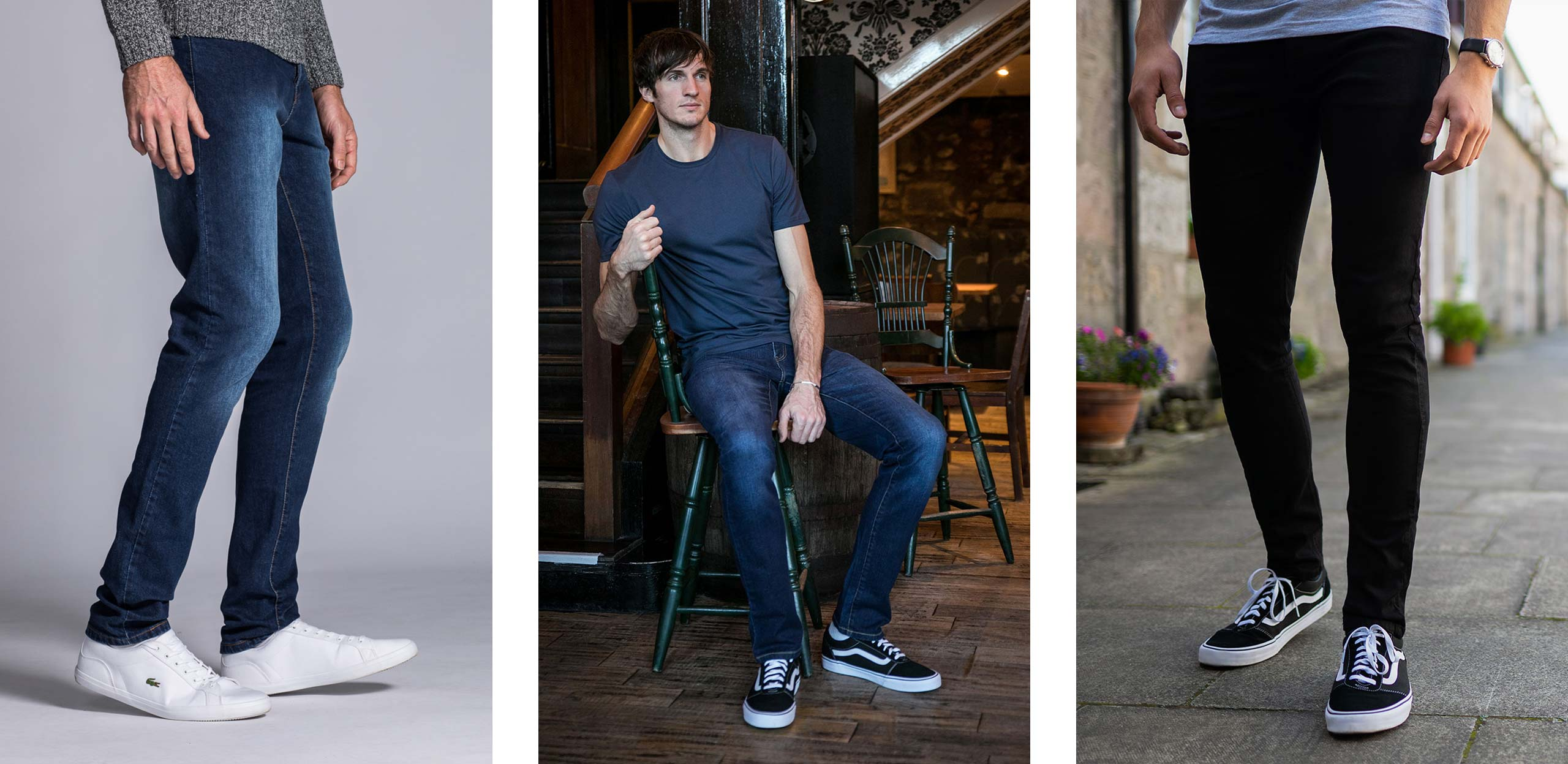 """Available in 36, 38 & 40"""" leg and a 30-40"""" waist, click to browse our biggest ever collection of tall men's jeans!"""