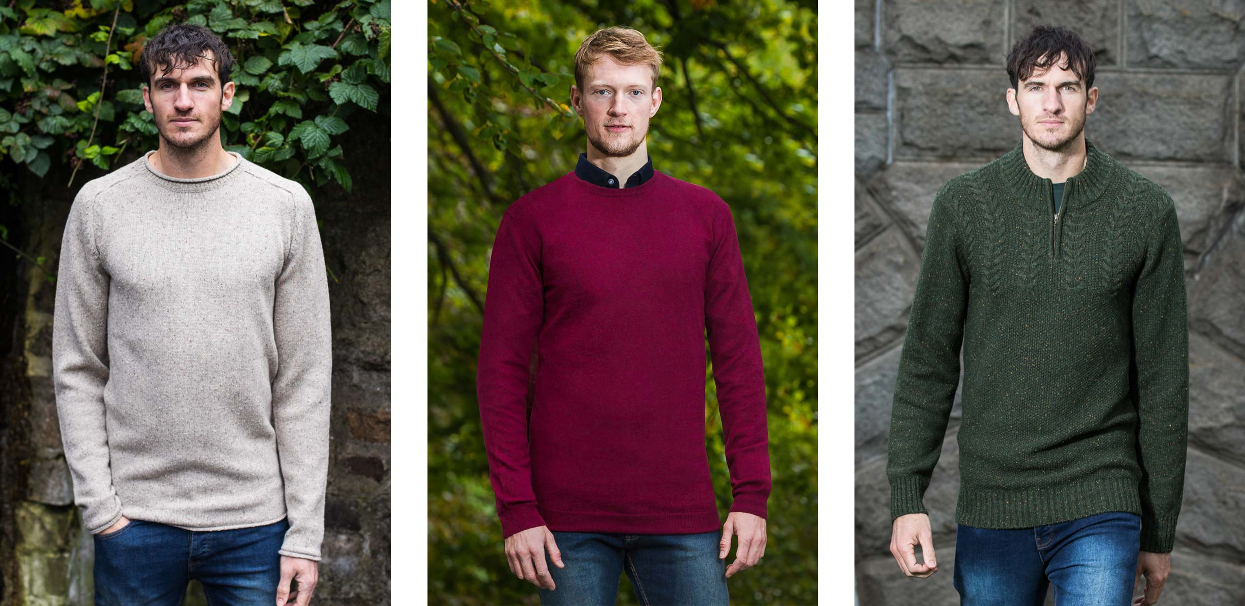 """Click to browse our collection of tall men's jumpers, perfect for guys 6'3"""" and above, available in a variety of different designs and colours."""