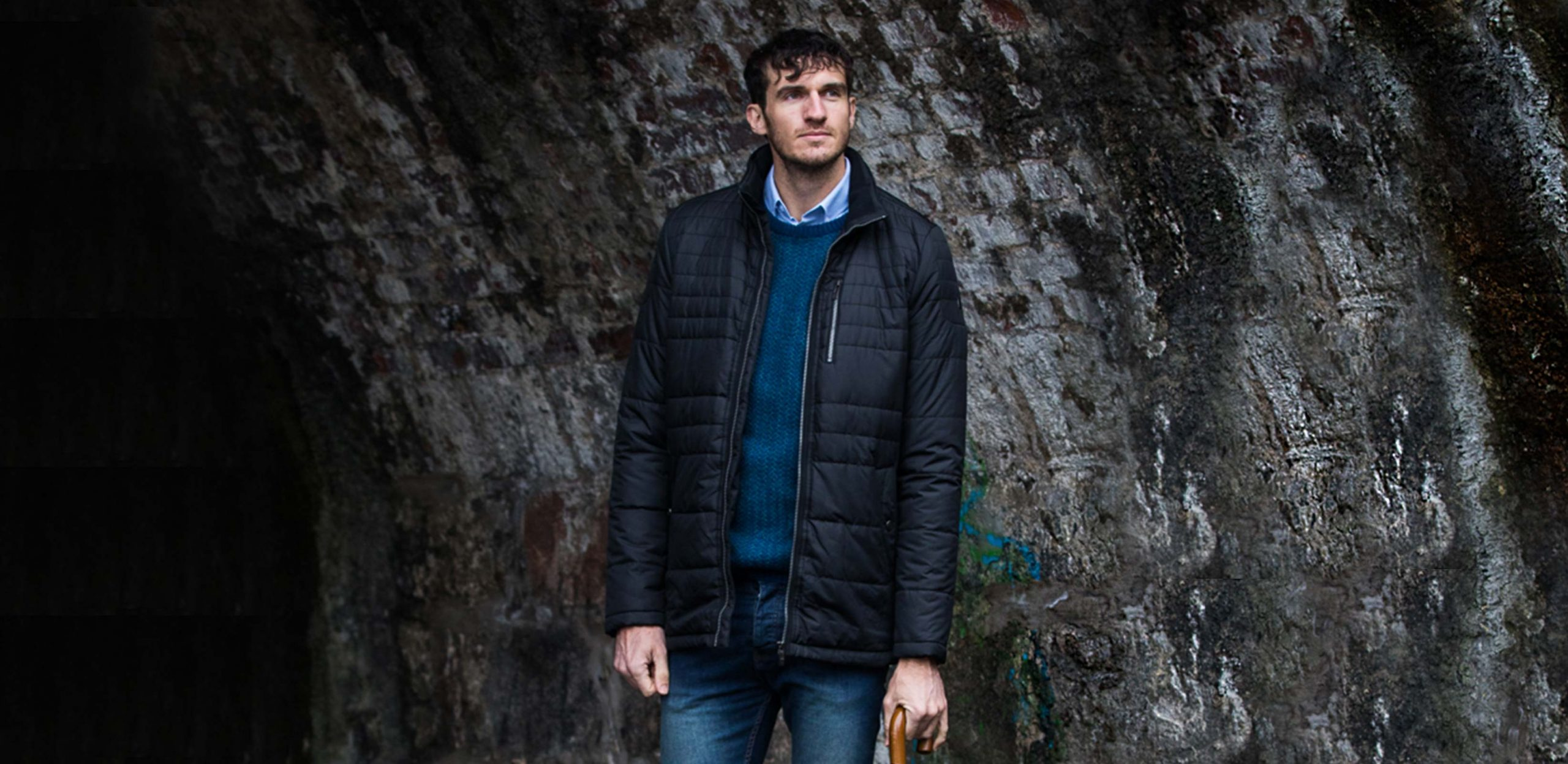 """Model is 6'11""""/211CM wearing size LT Cabano Tall Tech Down Jacket in Black"""