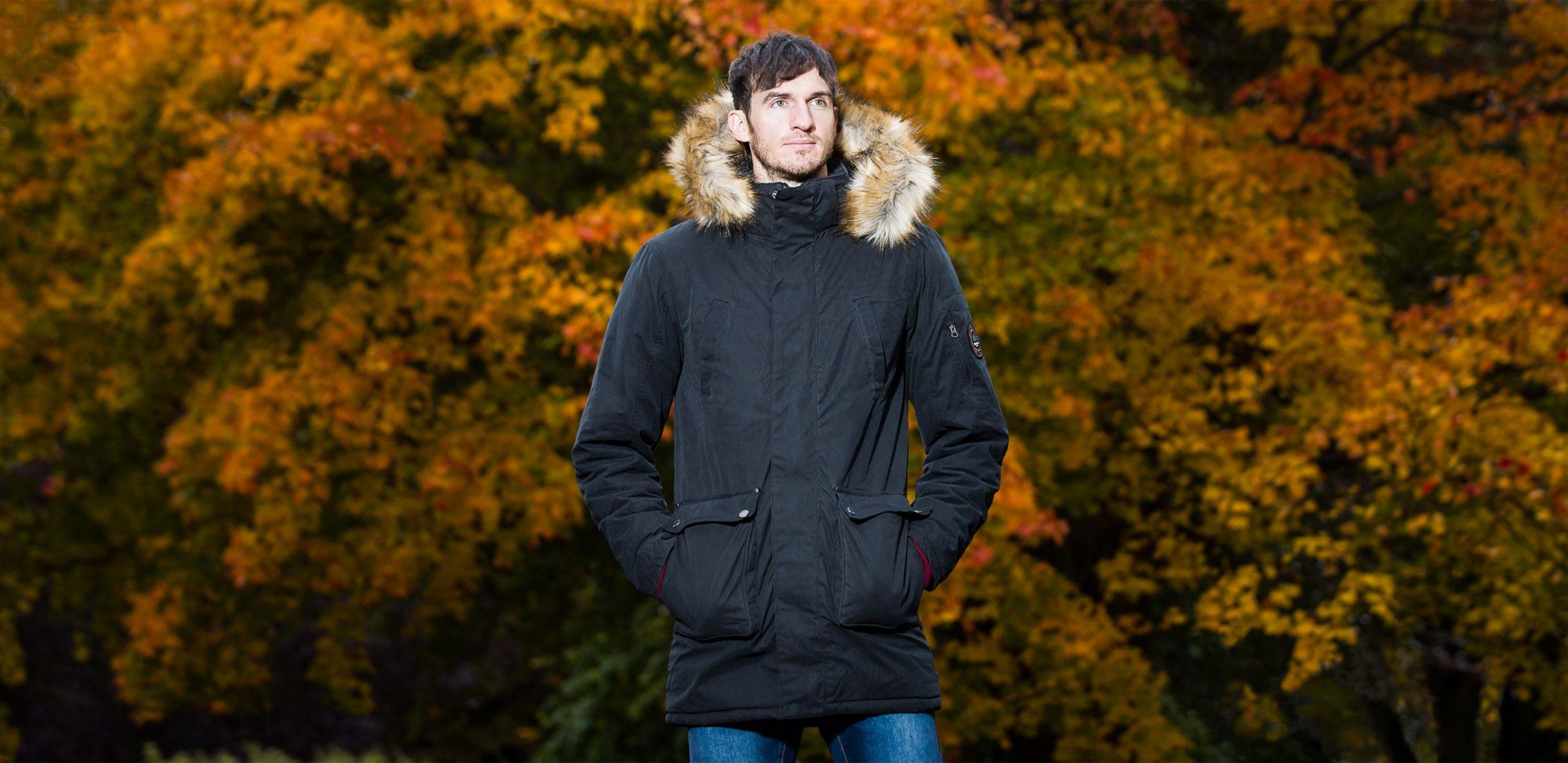 "Model is 6'11""/211CM wearing size LT North 56 Tall Parka Jacket in Black"