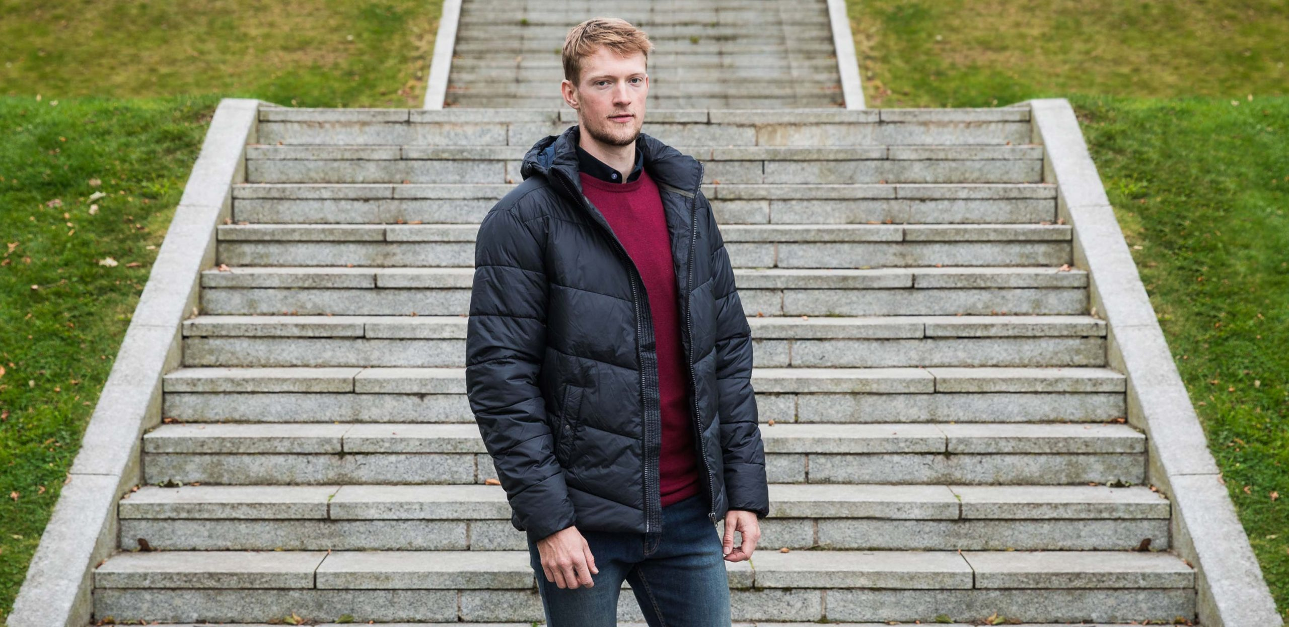 """Model is 6'9""""/206CM wearing size LT Replika Tall Quilted Jacket in Black"""