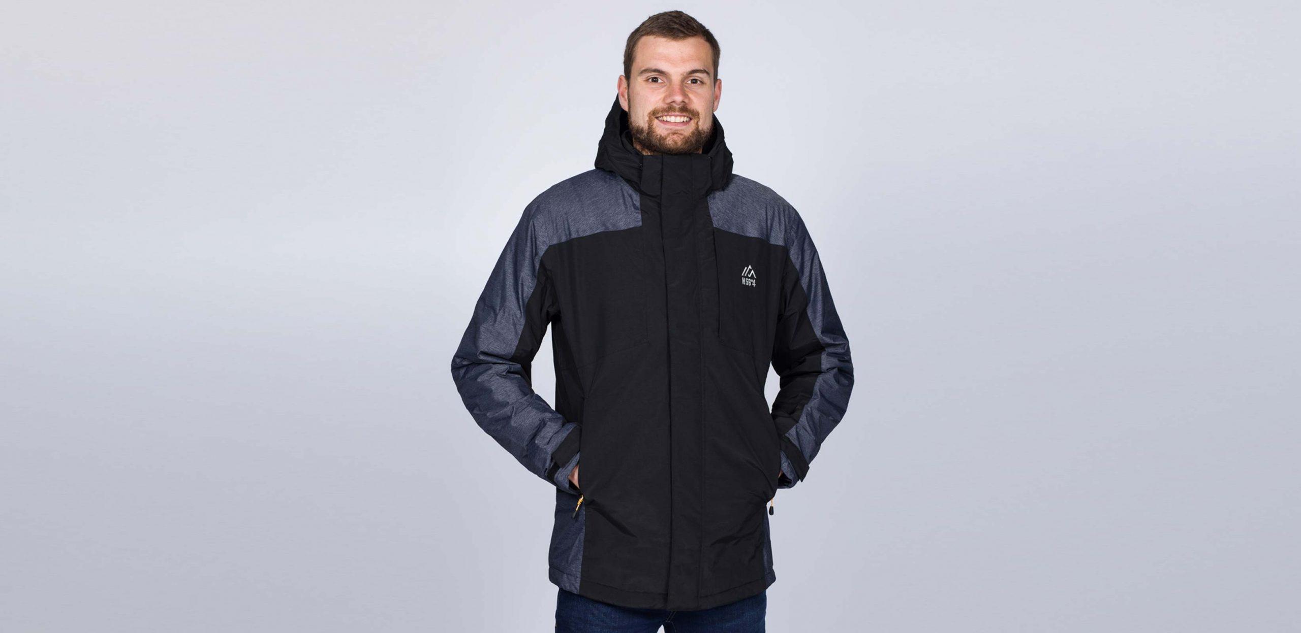 "Model is 6'9""/206CM wearing size LT North 56 Tall Ski Jacket in Black/Grey"