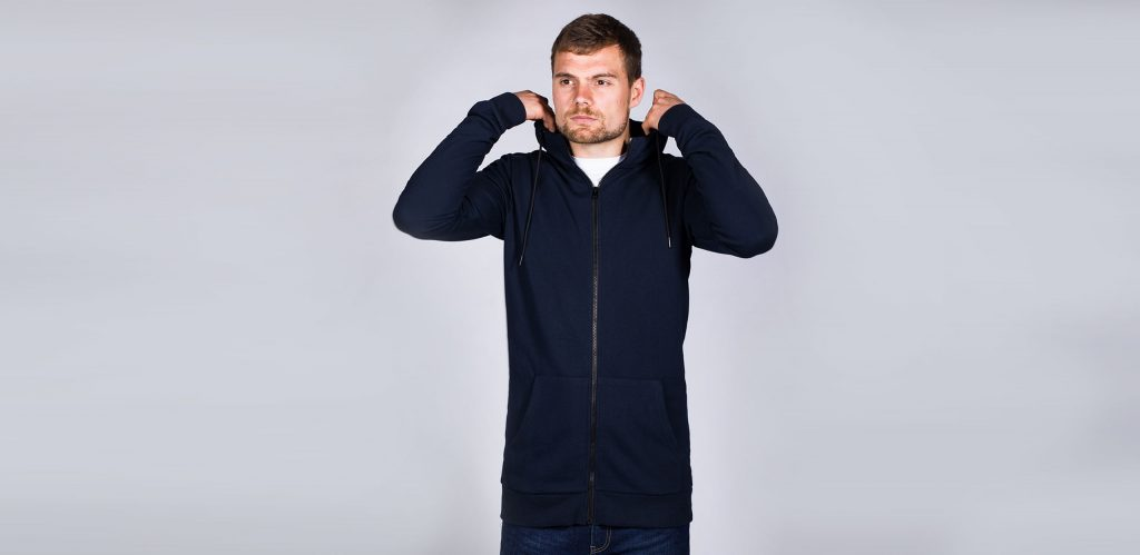 """Model is 6'9""""(206cm) & wearing a size LT Navy coloured 2t Active Zip Up Hoodie."""