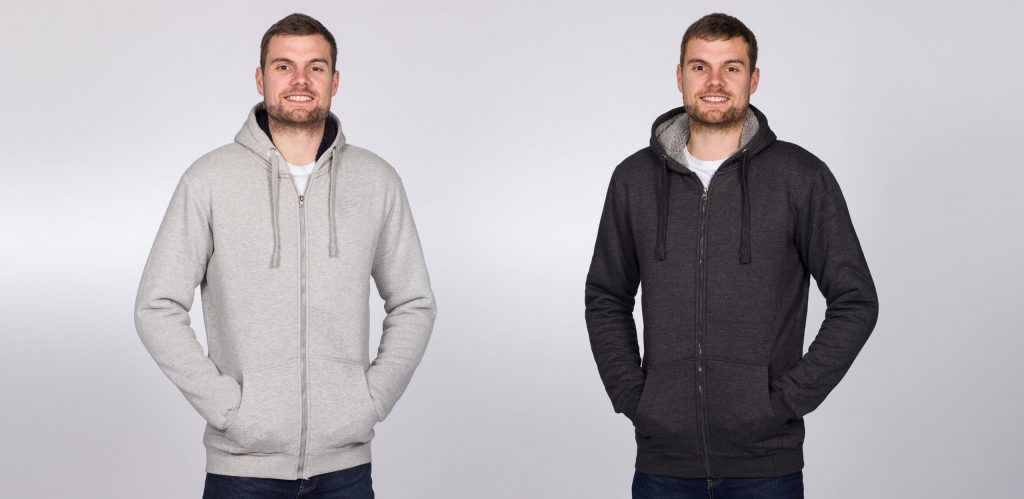 """Model is 6'9""""(206cm) & styling the size LT Sherpa Hoodies in Heather Grey & Charcoal."""