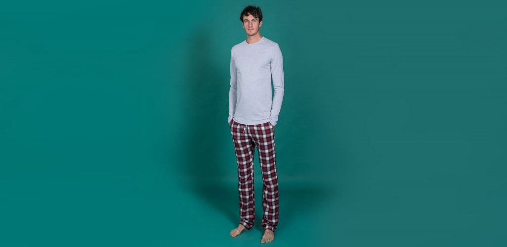 "Chris is 6'11"" and wearing our extra long 2t slim fit pyjama bottoms"